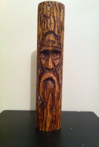 Carved from Rolling Pin, Wood Spirit 1