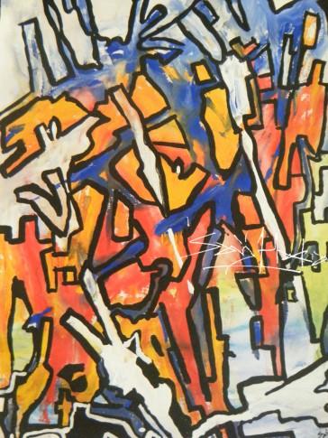 Buildings.Acrylic on canvas. A4jpg