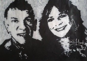 Ian and Pam. Acrylic on Cartridge paper. A3