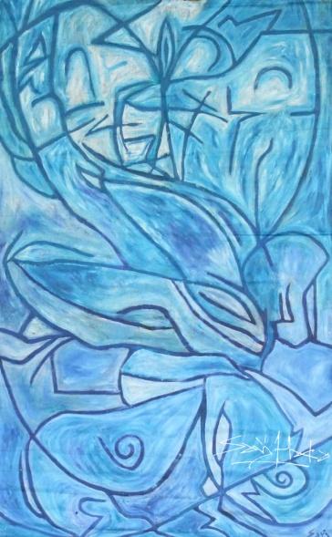 Lovers 1. Oil on canvas roll.3m* 2m. jpg