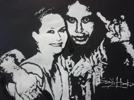 Sarj And Kerri.Acrylic on Cartridge Paper. A3