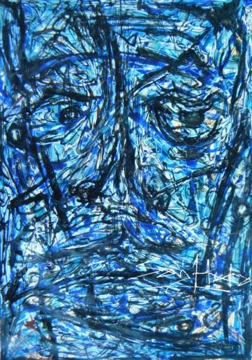Self Potrait. Acrylic on canvases.A3