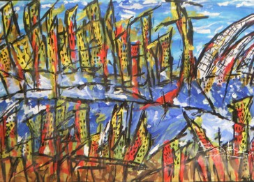 Sydney Harbour. Acrylic on cartridge paper. A4