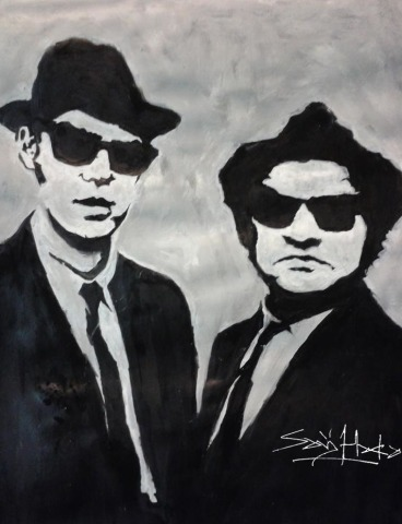 The Blues brothers. Acrylic on Cartridge. A3