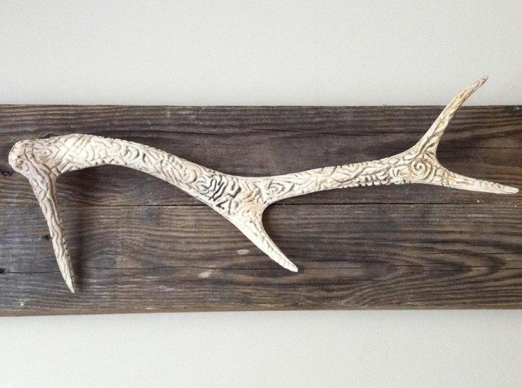 Free Hand Carving on Deer Antler